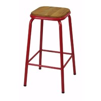 Bean Metal Stackable Retro Bar Stool with Ash Seat 680mm Frosted Red