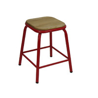 Bean Metal Stackable Retro Bar Stool with Ash Seat 450mm Frosted Red