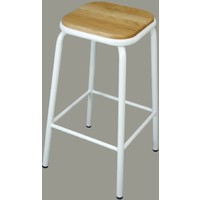 Bean Metal Stackable Retro Bar Stool with Ash Seat 680mm Frosted White