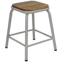 Bean Metal Stackable Retro Bar Stool with Ash Seat 450mm Frosted White