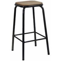 Bean Metal Stackable Retro Bar Stool with Ash Seat 680mm Gun Metal