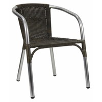 Rattan Aluminium Fully Welded Outdoor Stackable Wicker Chair Cappucino