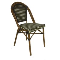 Paris Replica Aluminium Ratten Outdoor Parisian Cafe Chair - Brown Cream