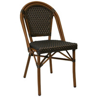 Paris Replica Aluminium Ratten Outdoor Parisian Cafe Chair - Golden Brown
