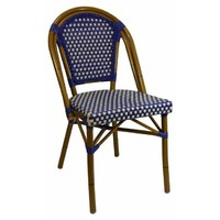 Paris Replica Aluminium Ratten Outdoor Parisian Cafe Chair - Blue Cream