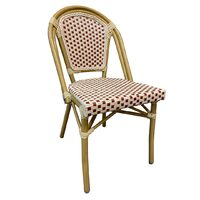 Paris Replica Aluminium Ratten Outdoor Parisian Cafe Chair - Red White