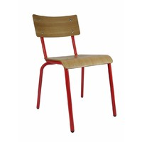 Skinner Cafe Restaurant Chair Retro Dining Chairs Oak / Red