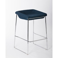 PIPPA BAR STOOL Chrome frame Linen seat 650mm Blue