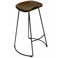 Massey Vintage Kitchen Stool Timber Rustic Seat Metal Legs 72cm Oak