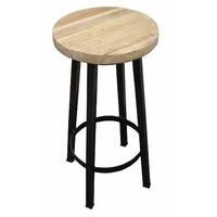 Rustic Elm Metal Timber Stool - 680mm