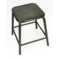 Bean Metal Stackable Retro Chair Height Stool 450mm Coffee Rust