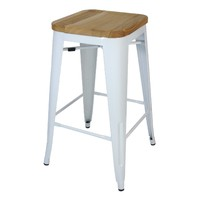 Tolix Bar Stool w Ash Seat Replica Pauchard Marais 750mm White