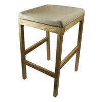 PIPPA BAR STOOL Timber Frame Linen Seat 650mm Beige