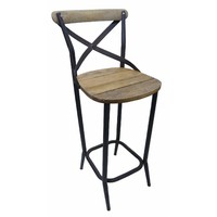 Rustic Cross Back Timber and Metal Stool