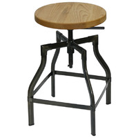 Industry Replica Turner Swivel Bar Stool with Ash Timber Seat Gun Metal 600mm