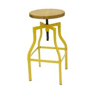 Industry Replica Turner Swivel Bar Stool Ash Timber Seat Yellow