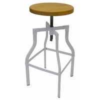 Industry Replica Turner Swivel Bar Stool Ash Timber Seat White