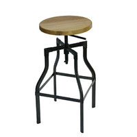 Industry Replica Turner Swivel Bar Stool with Ash Timber Seat Gun Metal 785mm