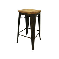 Tolix Bar Stool w Ash Seat Replica Pauchard Marais 660mm Bronze