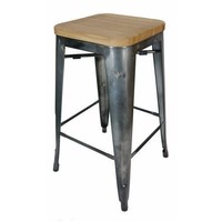 Tolix Bar Stool w Ash Seat Replica Pauchard Marais 660mm Gun Metal