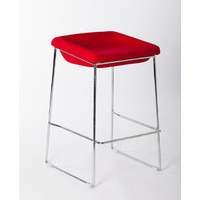 PIPPA BAR STOOL Chrome frame Linen seat 650mm Red