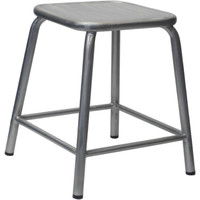 Bean Metal Stackable Retro Chair Hieght Stool 450mm Galvanised Look Clear Coat