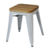 Tolix Stool w Ash Seat Replica Pauchard Marais 460mm White