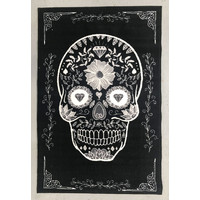 Children's Rug - Sugar Skull - Black and White - 100cm x 150cm