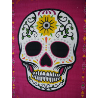 Children's Rug Sugar Skull Hot Pink Head 100cm x 150cm