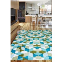 The RUG Collection MOSAIC wool rug 160 x 230cm Marine