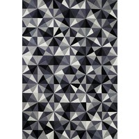 The RUG Collection JEWEL Wool Rug 160x230cm GREY/ black