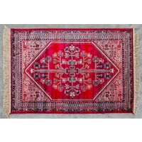 Chiraz Art Silk Floor Mats 68cm x 105cm 9007-12 Red