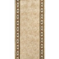 Chambord Hall Runner Beige Border Floral 80cm Wide