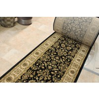 HALLWAY Runner FAIRMONT 80cm wide FLORAL Black