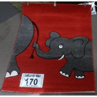 California Kids Baby Elephant Children's Rug 120cm x 170cm Red