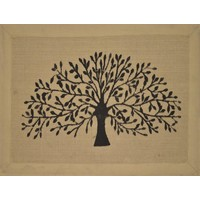 Tree Door Mat Natural Jute Canvas Border 80x90cm
