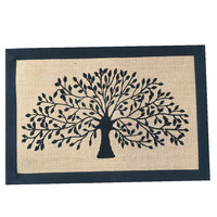 Tree Door Mat Jute Canvas Black Border 80x90cm