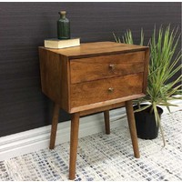Erber Mid Century Bedside 2 Drawer Mango Wood Timber Chest of Drawers