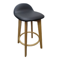 Caulfield Natural Frame Timber Bar Stool with Padded Black Seat