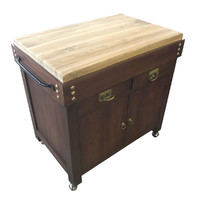 Timber Butchers Block Mobile Chopping Board Island Trolley
