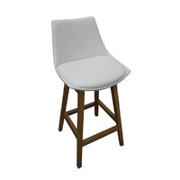 East Style Manor Stool Timber Natural Frame White Vinyl Seat