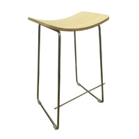 Lily Metal Kitchen Bar Stool - Brushed Stainless Steel Frame Plywood Seat