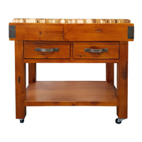 Timber Butchers Block Mobile Chopping Board Kitchen Cutting Island Trolley