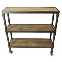 Rustic 3 TIER Storage Display Bookcase Brown Timber / Metal