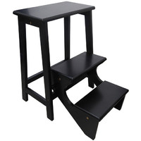 Retro Timber Folding Step Stool Wenge