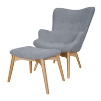 Grant Featherston Replica Chair and Footstool - Grey