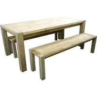 Rustic Elm Recycled Timber Dining Table  and Bench Setting 1980 x 1000mm