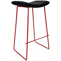 Lily Metal Kitchen Bar Stool - Red Frame Black Seat