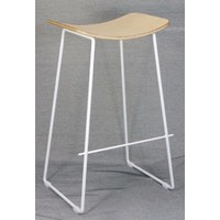 Lily Metal Kitchen Bar Stool - White Frame Plywood Seat