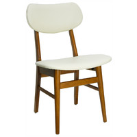 Gangnam Timber Dining Chair Cream Vinyl Padded Seat Teak Frame